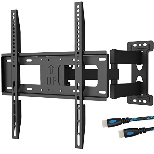 WALI TV Wall Mount Bracket Full Motion Articulating Extend Arm for Most 23-55 inches LED, LCD, OLED Flat Screen TVs up to 99lbs VESA 400x400mm with Tilting for Display (FTM-1), Black