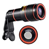 EAGWELL Phone Lens Zoom, 12X Optical HD Cell Phone Camera Telephoto Lens with Universal Clip for iPhone X, 8, 7, 6s, 6, SE, Samsung Galaxy S9, S8, S7, S7 Edge and Most Smartphones
