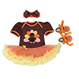 OBEEII Newborn Baby Girl Thanksgiving Day Turkey Romper Dress + Headband + Shoes Playwear Fancy Dress Clothes 3PCS Outfits #A 3-6 Months