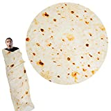 Lhedon Burrito Tortilla Blanket, Food Creations Flannel Blanket Fashionable, Super Soft & Creative Tortilla Blanket for Bed, Couch or Travel (Diam 71 in) (Large)
