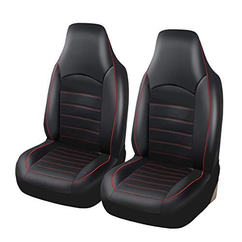 AUTOYOUTH PU Leather Front Car Seat Covers Fashion Style High Back Bucket Car Seat Cover Auto Interior Car Seat Protector 2PCS For Toyota,2pc