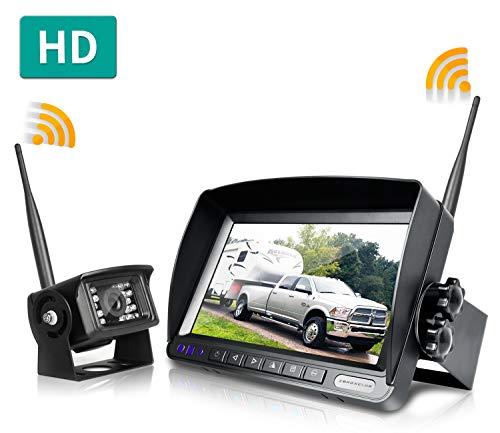 "ZEROXCLUB Digital Wireless Backup Camera System Kit,No Interference,IP69 Waterproof Wireless Rear View Camera + 7"" LCD Wireless Reverse Monitor for Rv/Truck/Trailer/Bus/Pickup/Van (W01-7 inch)"