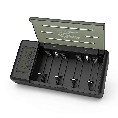 Powerowl Universal Battery Charger for AA, AAA, C, D, 9V Ni-MH Ni-CD Rechargeable Batteries with Ultra LCD Screen