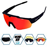 GIEADUN Sports Sunglasses Protection Cycling Glasses with 4 Interchangeable Lenses Polarized UV400 for Cycling, Baseball,Fishing, Ski Running,Golf (Black)