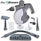 PurSteam World's Best Steamers World's Best Staemers Chemical-Free Cleaning PurStaem Handheld Pressurized Staem Cleaner with 9-Piece Accessory Set Purpose and Multi-Surface All Natural, Anthracite