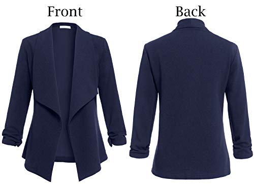 AUQCO Casual Open Front Blazer for Women Work Office Business Jacket Ruched 3/4 Sleeve Lightweight Draped Cardigan 17 Fashion Online Shop gifts for her gifts for him womens full figure