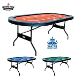 Hot Hand Poker Supply | Water-Resistant Speed Felt | 10 Player Folding Poker Table | Portable | Easy Storage | No Assembly Required | 84' L x 42' W x 30' H | Red