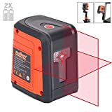 Laser Level, HORUSDY Switchable Self-Leveling Horizontal Line & Vertical, Cross Line Laser with Measuring Range 50ft,Rotatable 360 Degree with Magnetic Base, Mounting Clip, Battery Included