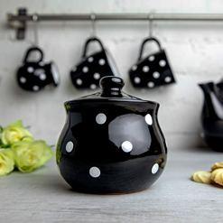 Black Polka Dot Sugar Bowl