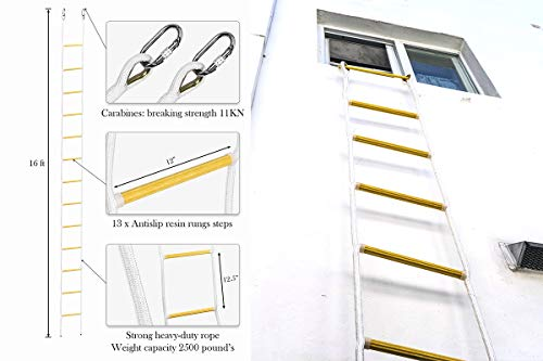 ISOP Emergency Fire Escape Ladder 16 ft (2 Story) Flame Resistant Safety Rope Ladder With Hooks - Fast To Deploy & Easy To Use - Compact & Easy to Store - Reusable - Weight Capacity up to 2500 Pounds