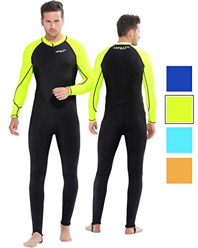 COPOZZ Diving Skin, Men Women Youth Thin Wetsuit Rash Guard- Full Body UV Protection - for Diving Snorkeling Surfing Spearfishing Sport Skin (Black/Green, X-Large for Men)