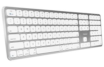Macally Bluetooth Wireless Keyboard for Mac Mini, iMac Pro/iMac, MacBook Pro/Air, Apple Computer Laptops, iPad, iPhone | Slim Full-Size Metal Frame & Extended Numeric Keypad - Silver