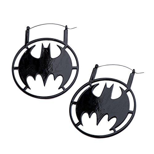 DC Comics Unisex Batman Women's Stainless Steel Black IP Hanger Body Piercing Jewelry Earrings, One Size