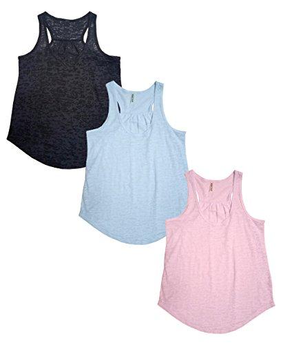 Tough Cookie's Women's Plain Flowy Burnout Racerback Workout Tank Tops (Large, Black/Dusty Blue/Blush Pink)