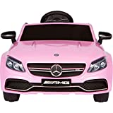 TrueMax 12V Mercedes-Benz C63 Ride on Car with Remote Control, Spring Suspension, Radio, & More. Electric Cars for Kids Pink
