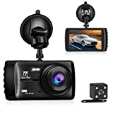 Ananteke Dash Cam,Dashboard Camera 1080P HD,Front and Rear Driving Video Recorder with 4 Inch LCD, Parking Monitoring,Motion Detection, G-Sensor, LED Compensation