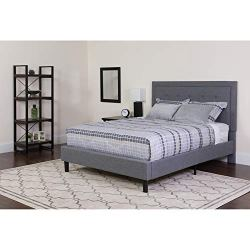 Flash Furniture Roxbury Twin Size Tufted Upholstered Platform Bed in Light Gray Fabric