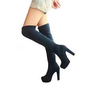 Dormery New Women Boots Sexy Fashion Over The Knee Boots Sexy Thin Square Heel Boot Platform Woman Shoes Black Size 34…