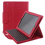 ZAOX Folio Keyboard Case for iPad 4/3/2, Multi Angle Magnetic Detachable Wireless Keyboard Leather Protective Smart Cover Compatible Apple iPad 2nd 3rd 4th Generation Tablet (Red)