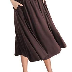 TRENDY UNITED Women's Rayon Spandex High Waist Shirring Flared Pocket Skirt 7 Fashion Online Shop Gifts for her Gifts for him womens full figure