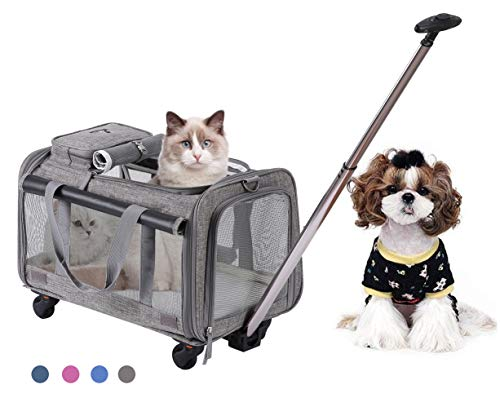 MOVEPEAK PET Carrier with Wheel, Luxury Pet Bag Strollers with Comfortable Fleece Mat for Travel, Hiking,Camping, Designed for Cats, Dogs, Kittens, Puppies, 360° Swivel Mute Wheels 1