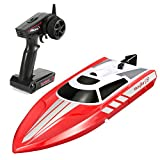 FUNTECH Remote Control Boats 2.4GHz Radio Control Boat - High Speed 18 MPH (30 KM/H) Electric RC Boats for Pools&Lakes&Rivers - Best Gifts for Kids&Adults, Boys& Girls - Red