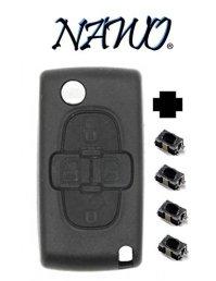 Coque-plip-4-boutons-PEUGEOT-807-1007-Citroen-C8-modle-CE0523-Pile-sur-circuit-lame-avec-rainure-4-boutons-switchs--souder