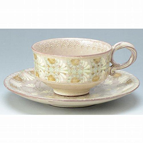 Kiyomizu-kyo yaki ware. Coffee teacup and saucer shisuimon souka with paper box. Ceramic. kymz-CTK697
