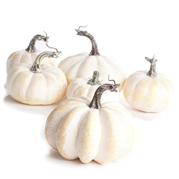 Factory Direct Craft Package of 6 Fall Artificial Assorted Creamy White Pumpkins for Autumn and Thanksgiving Displays