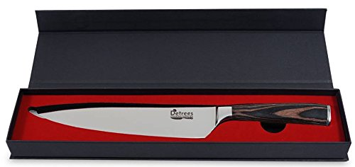 Chef Knife by Detrees-8 Inch Chefs Knife-All Purpose Professional High Carbon Stainless Steel Pakka Kitchen Knife with Gift Box for the Home Chef-Slicing, Dicing-Sharp Blade So You Cut Fast and Safe