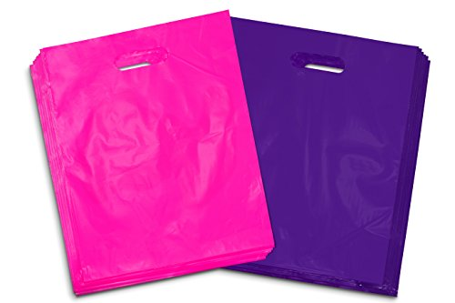 100 - Heavy Duty Purple and Hot Pink Glossy Merchandise Bags, Shopping Bags, 12' X 15' with Die Cut Handle, No Gusset, 2.0 Mil.