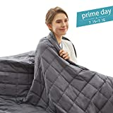Weighted Idea Cooling Weighted Blanket 15 lbs Adults (48''x78'', Twin Size, 100% Natural Cotton, Grey)