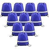 BeeGreen Blue Drawstring Backpack Bags Reflective Bulk Pack, Promotional Sport Gym Sack Cinch Bags (10 Royal Blue)