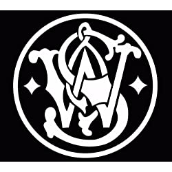 Smith and wesson Hand Gun Pistol ammo Logo Vinyl Decal Sticker, Die cut vinyl decal for windows, cars, trucks, tool boxes, laptops, MacBook - virtually any hard, smooth surface