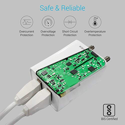 Portronics Adapto 36 USB Wall Adapter with 2.1A Quick Charging Dual USB Port + Micro USB Charging Cable for All iOS & Android Devices (White) 3