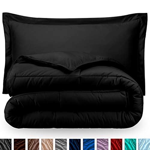 Bare Home Comforter Set - Twin/Twin Extra Long - Goose Down Alternative - Ultra-Soft - Premium 1800 Series - Hypoallergenic - All Season Breathable Warmth (Twin/Twin XL, Black)