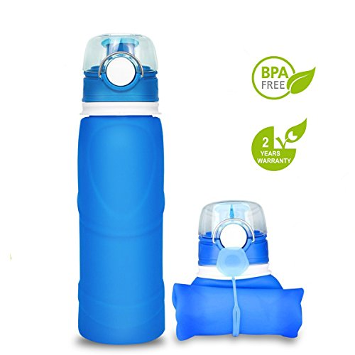 Silicone water Bottle Foldable Collapsible Anti Leakage With leak proof valve bottles Travel Outdoor sports lightwight Portable BPA free Medical food grade 26 Ounce (Blue)