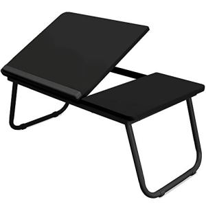 Black Folding Laptop Lap Desk - Wooden Work Table and Stand for Couch, Bed and Sofa Computer Use - Folding Legs, Adjustable Tilt - Use as Reading and Breakfast Tray - By Designstyles