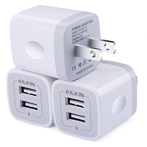 Wall Charger, [3-Pack] 5V/2.1AMP Ailkin 2-Port USB Wall Charger Home Travel Plug Power Adapter Replacement for Phone XS/8/7/7 Plus, 6s/6s Plus, Samsung Galaxy S7 S6, HTC, LG, Table, Motorola and More