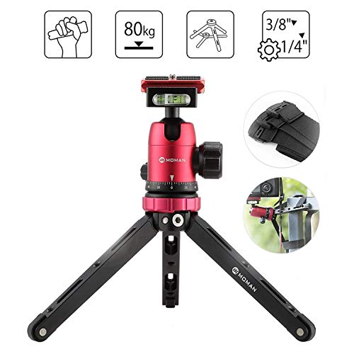 Moman-Tabletop-Tripod-with-360-Camera-Ball-Head-with-14-and-38-Screws-and-Quick-Release-Plate-for-DSLR-CNC-Aluminum-Housing