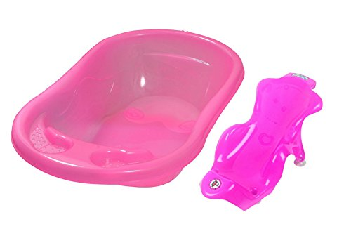 Sunbaby Baby Anti Slip Big Plastic Bathtub with Bath Toddler Seat Sling Non Slip Suction for Bathing,Baby Shower,Bubble Bath-Combo Pack-Pink