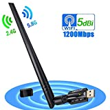 USB WiFi Adapter, 1200Mbps USB Wireless Network Adapter WiFi Dongle/Antenna, Wireless USB WiFi Adapter for PC/Desktop/Laptop Support Win10/8.1/8/7/XP/Mac OS/Linux(Kernel2.6X-4.7X)