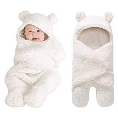 XMWEALTHY Cute Newborn Baby Boys Girls Blankets Plush Swaddle Blankets Baby Shower Gifts White