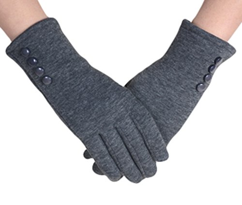 Knolee Women's Button Touch Screen Glove Lined Thick Warmer Winter Gloves,Grey