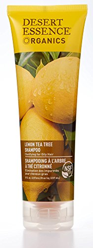 Desert Essence Lemon Tea Tree Shampoo - 8 Fl Oz - Removes Excess Oil - Revitalizes Scalp - Strengthens & Protects Hair - Maca Root Extract - Soft, Smooth & More Manageable - Certified Organic
