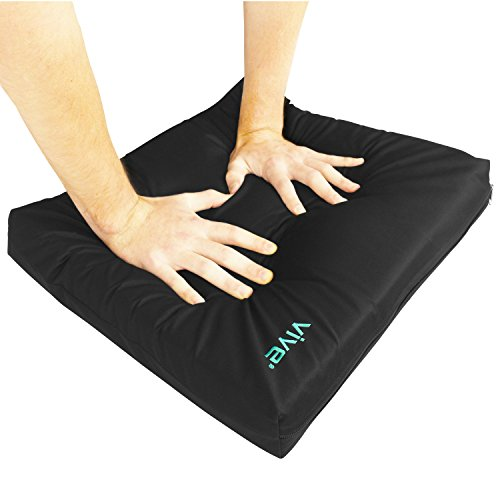 Wheelchair Cushion by Vive - Gel Seat Pad for Coccyx, Back Support, Sciatica & Tailbone Pain Relief - Waterproof Cover + 4 Layer Foam Support and Comfort - For Pressure Sores and Ulcers (18' x 16')