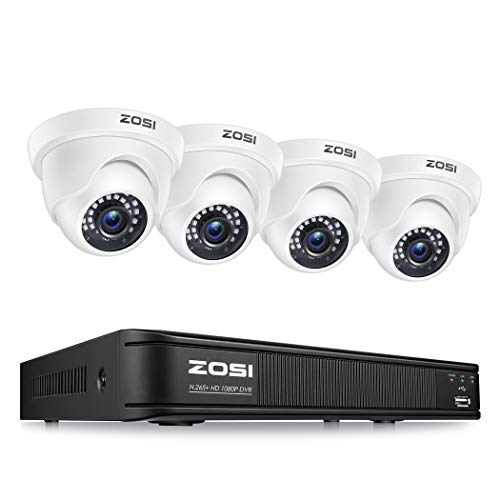 ZOSI-1080P-H265-Home-Security-Camera-System5MP-Lite-8-Channel-Surveillance-DVR-and-4-x-1080p-Weatherproof-CCTV-Dome-Camera-Outdoor-Indoor-with-80ft-Night-Vision-Remote-Access-No-Hard-Drive