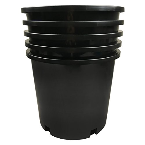 Calipots 5-Pack 5 Gallon Premium Black Plastic Nursery Plant Container Garden Planter Pots (5 Gallon)