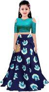 Shreehari Fashion Girl's Taffeta Silk Semi-Stitched Lehenga Choli (Freesize, 10-15 Year Girls)