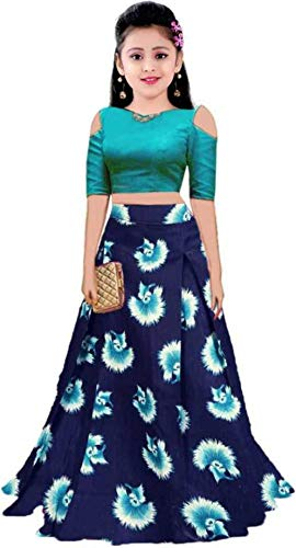 Shreehari Fashion Girl's Taffeta Silk Semi-Stitched Lehenga Choli (Freesize, 10-15 Year Girls)